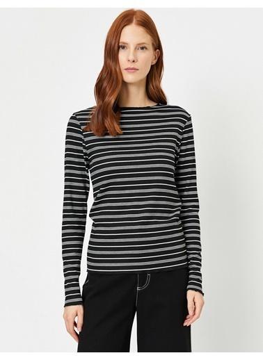 Koton Koton Siyah - Beyaz Çizgili Uzun Kollu T-Shirt Siyah